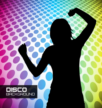 dancing disco: Disco poster with dancer silhouette Illustration