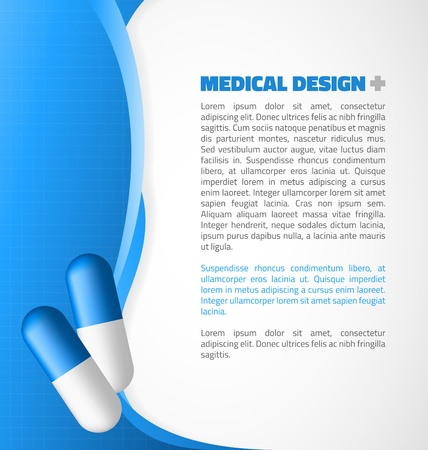 Blue capsule on abstract waves design Vector