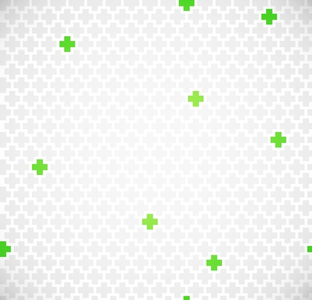 pharmacy sign: Green medical seamless pattern with crosses Illustration