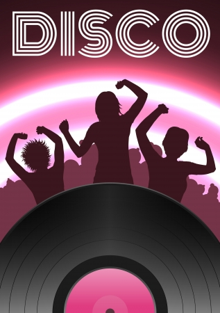 Pink Disco party poster with girls silhouettes Vector