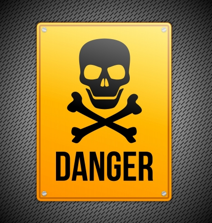 Danger sign with skull and bones on metal background Vector