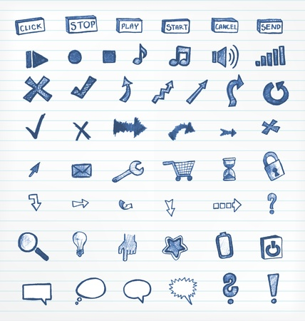Ink icons for websites on lined paper