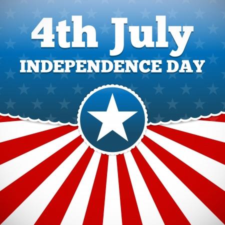 independencia: Dise?el d?de la Independencia con bot?e estrella y las rayas sunburst