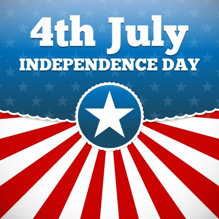 Independence day design with star button and sunburst stripes Vector