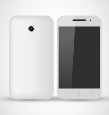 Common White SmartPhone front and back view Vector