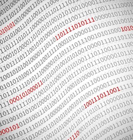 Binaire gegevens technologie achtergrond op lichte achtergrond met rode gedeelten van nummers Stock Illustratie