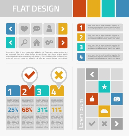 Flat design kit with icons Vector