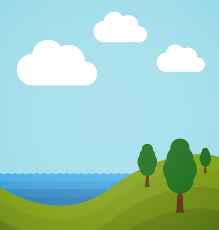 Flat landscape illustration with trees, sea and clouds Vector