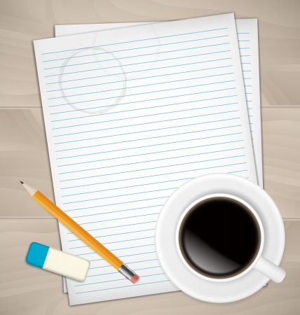 Sheets of paper, rubber, pencil and coffee mug on wooden desk Vector