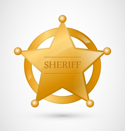 Gold Sheriff Star Badge with shadow Vector