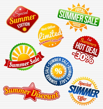 Colorful summer sale labels set