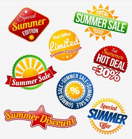 summer sale: Colorful summer sale labels set