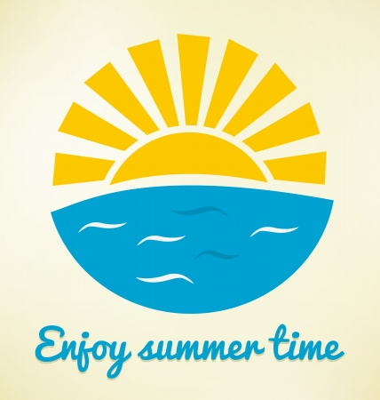 sun rays: Summer time icon with sun and sea Illustration