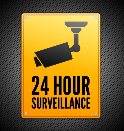 Yellow Surveillance sign on steel background Vector