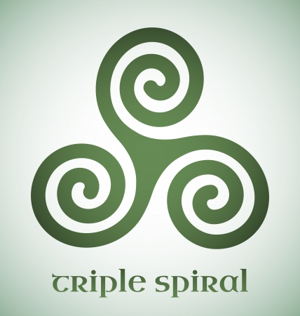 wiccan: Green Celtic triple spiral with gradient