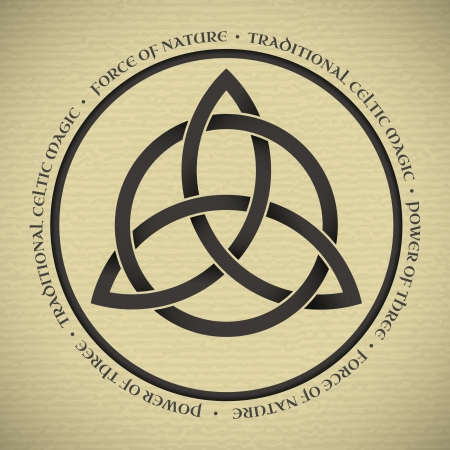 wiccan: Black Triquetra symbol on vintage paper Illustration
