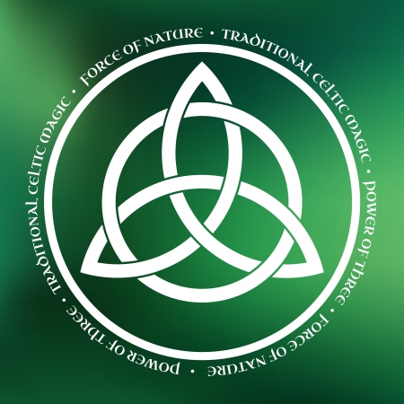 wiccan: White Triquetra symbol on green abstract background Illustration