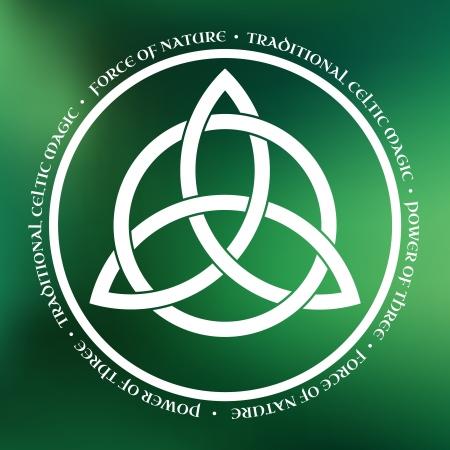 Wit Triquetra symbool op groene achtergrond Vector Illustratie