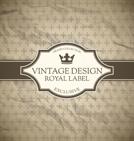 Vintage label on crumpled paper background Vector