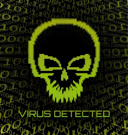Digital skull virus on black background Stock Vector - 20595594
