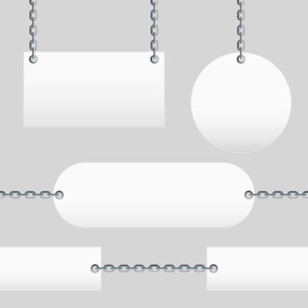 Blank Signs are hanging on chains Vector