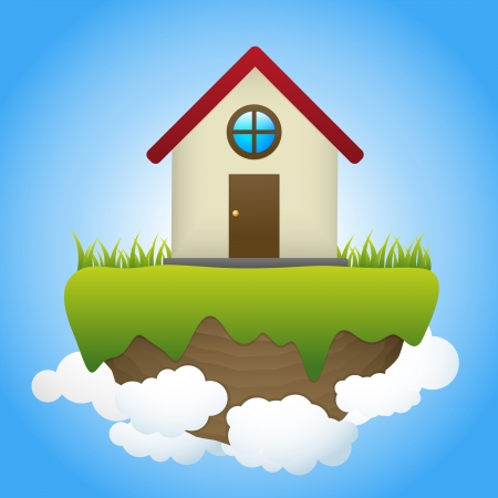 Dream House is floating on rock Vector