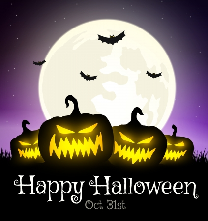 Halloween pumpkins on grass with moon and bats Vector