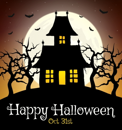 Scary house on hill with moon Vector