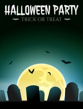 Halloween Card with gravestones and moon Vector