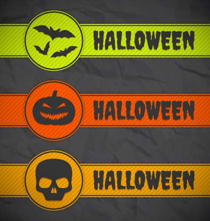 Halloween labels on gray paper background Vector