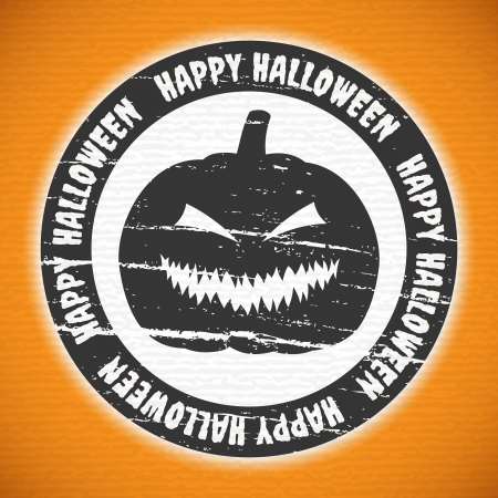 Grunge Halloween label with pumpkin lantern Vector