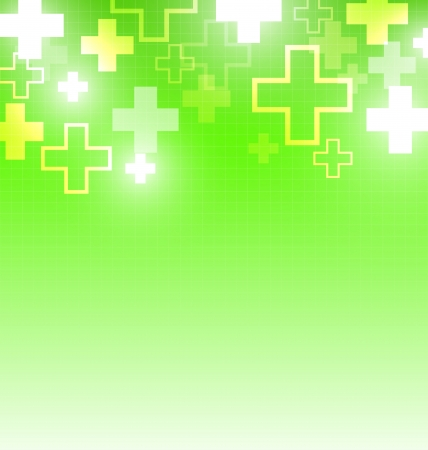 Green medical design with crosses Vector