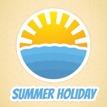 Summer time icon with sun and sea Vector