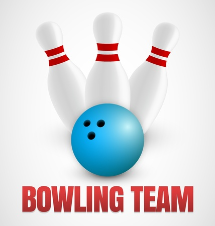 bowling alley: Bowling icon with three bowling pins and blue ball