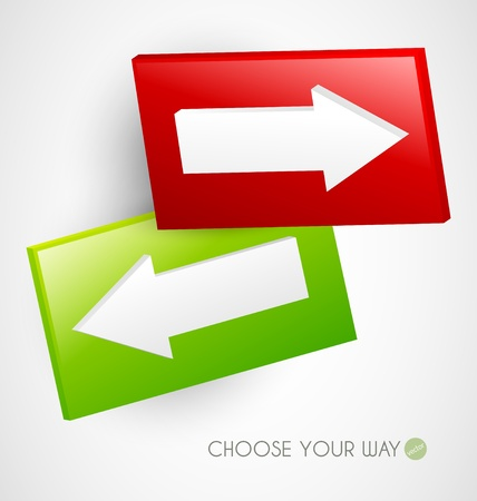 two way: Choose your way - two signs with arrows Illustration