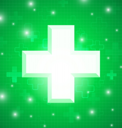 Green medical design with big cross Vector