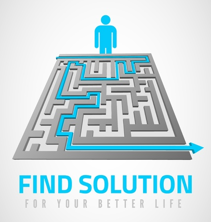 problem solved: Find solution design with maze and man symbol
