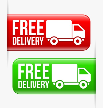 Green and Red Free delivery labels  イラスト・ベクター素材