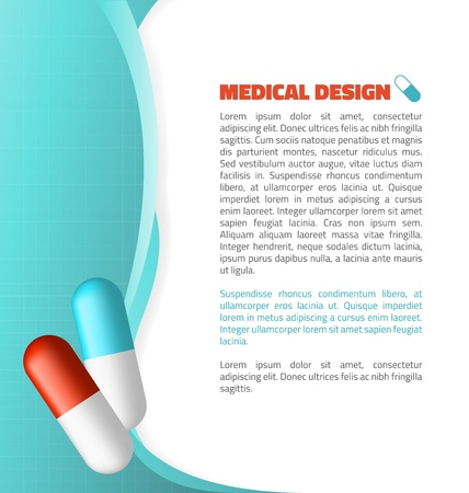 Blue and Red capsule on abstract waves medical design Vector