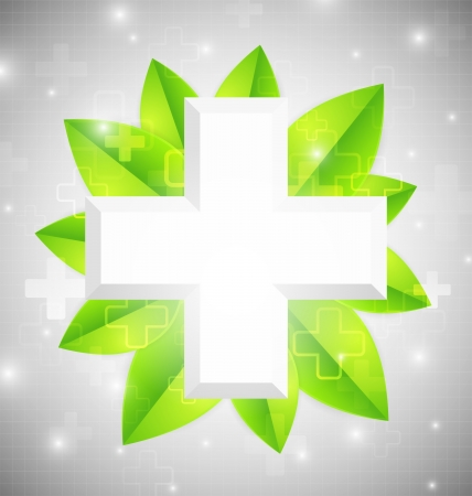 Cross with leaves - medical design Vector