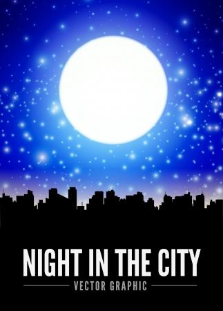 Nacht stad landschap met grote maan Stock Illustratie