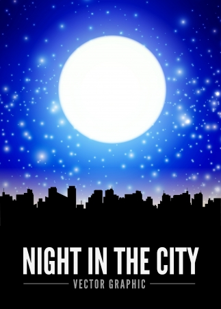 cartoon stars: Night city landscape with big moon Illustration