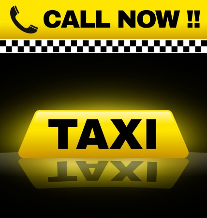 Taxi design with yellow taxi sign