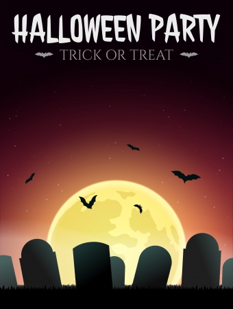 Halloween Card gravestones, bats and moon