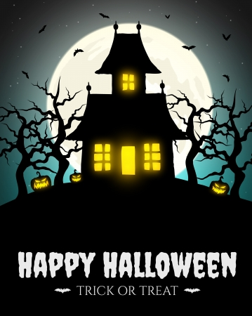 haunted tree: Scary house on hill with moon Illustration