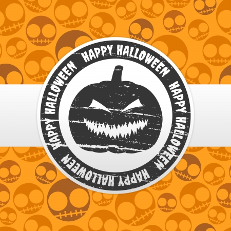 Halloween card with pumpkin lantern label Vector