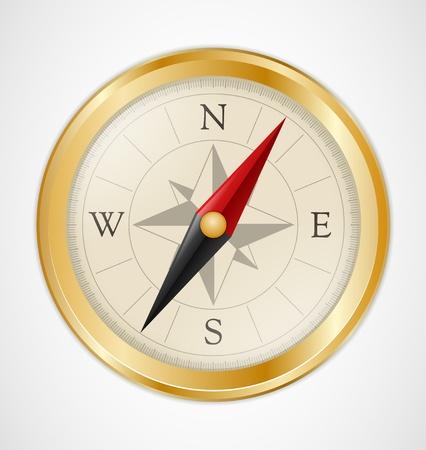 Gouden Vintage Compass Stock Illustratie