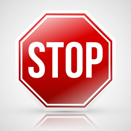 Stop sign with reflection Stock Vector - 22069142