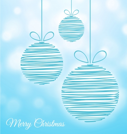 Doodle Christmas baubles on soft blue background Vector