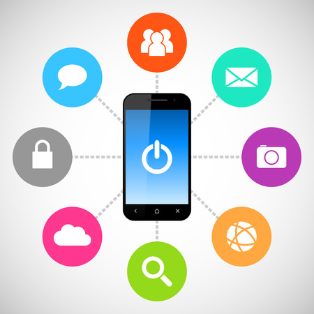Smartphone with applications icons Vector